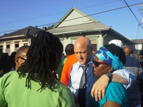Mayor Mitch Landrieu meets with residents at Frenchmen and North Villere streets.