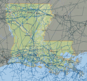 A map of Louisiana energy infrastructure and transmission lines.