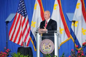 New Orleans Mayor Mitch Landrieu delivers the 2013 State of the City address at the Tremé Community Center.