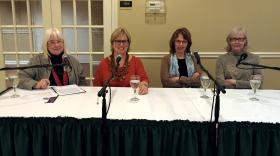 Susan Larson (far left) with her guests at the event.