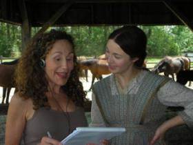 "On set for ""Abraham Lincoln: Vampire Hunter"" with Robin McLeavy, who played young Abraham Lincoln's mother. She is a classically trained, Australian actress, who learned a southern Virginian dialect."