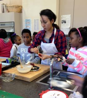 An hourlong Saturday morning cooking class teaches about healthy foods.