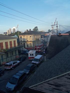 Dauphine Street on the morning of the Hubig's Fire.