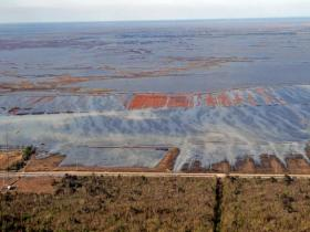 The vast oil infrastructure in Louisiana's wetlands are vulnerable to damage during hurricanes. These facilities were leaking after Hurricane Isaac.