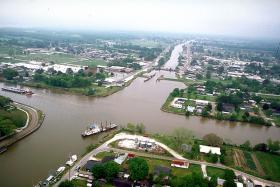 An aerial view of Larose, Louisiana, where the Intracoastal Waterway intersects Bayou Lafourche as it snakes down to the Gulf of Mexico