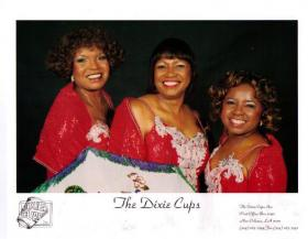 The Dixie Cups today: the Hawkins sisters with Athelgra Neville.