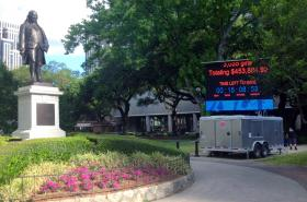 A giant leaderboard has been set up in Lafayette Square to provide constant updates during GiveNOLA Day. The Greater New Orleans Foundation also held an event, with food trucks and a DJ, in the afternoon.