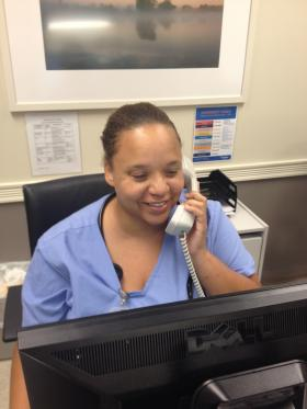 As a Medical Assistant, Julia Pierce spends most of her day talking to patients on the phone.