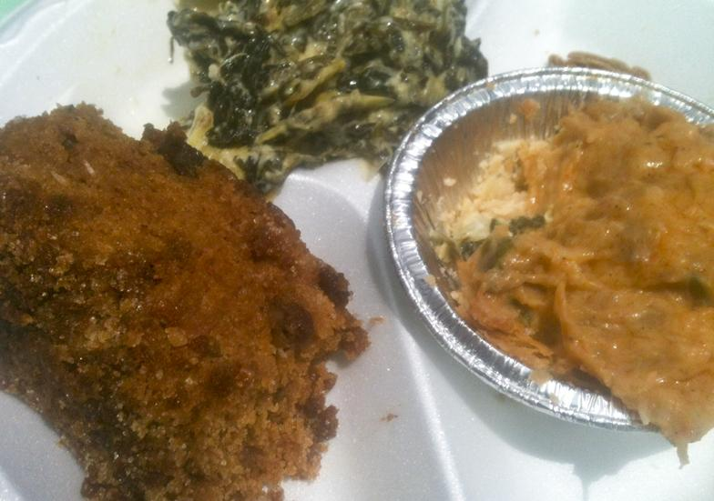 Sweet potato pone, spinach artichoke casserole and seafood au gratin by Ten Talents Catering.