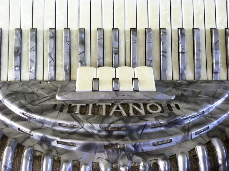 "One of Clarence ""Junior"" Martin's accordions on display. Martin builds and sells accordions in Scott, La."