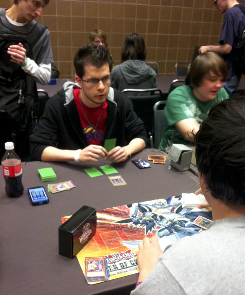 Gamers played Yu-Gi-Oh!, a collectable card game. Photo by Jason Saul.