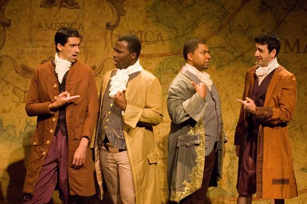 "l-r) Michael Aaron Santos (Antipholus of Syracuse), Isreal M. Scott (Dromio of Syracuse), Aaron Scott (Dromio of Ephesus), Nathan Riley (Antipholus of Ephesus) in the Shakespeare Festival at Tulane's production of ""The Comedy of Errors\"""