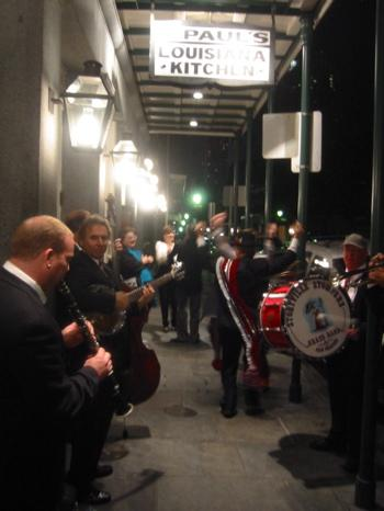 A jazz band greeted the first customers to return to K-Paul's Louisiana Kitchen when it reopened during the months after Katrina.