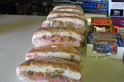 The mighty muffuletta, wrapped and ready to travel