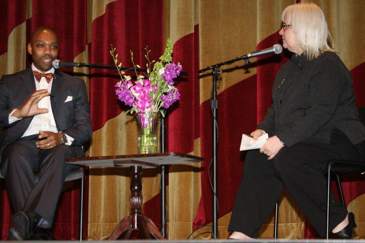 Susan interviews Andre Perry in front of a live audience at NOCCA.