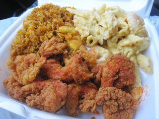 A bulging plate lunch from one of the quick-serve joints surrounding Orleans Parish Criminal District Court.