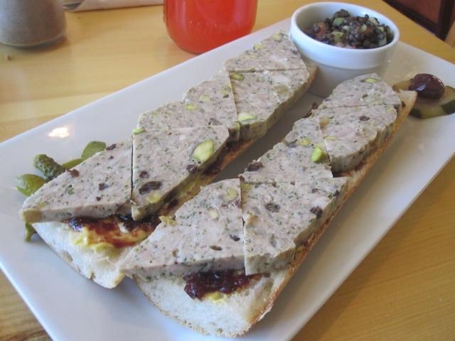 A tartine piled with pate from Tartine.