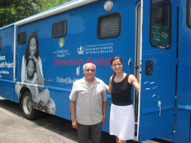 Carlos Naranjo and Dr. Alina Olteanu of the New Orleans Children's Health Project at their mobile clinic -- a pediatrics office on wheels.