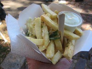 An order of gourmet fries from the roving food vendors known as the Fry Bar.