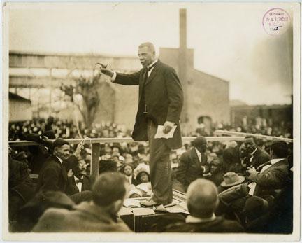 Booker T. Washington Speaking During His Last Pilgrimage in Louisiana, 1915.