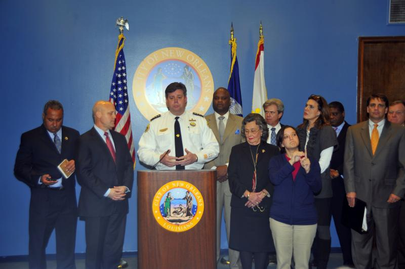 Police Superintendent Ronal Serpas joins Mayor Mitch Landrieu in announcing plan to increase cash bonds for illegal-weapons charges.