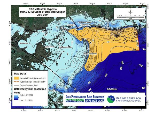 Lake Pontchartrain Basin Foundation releases a map of a dead zone detected in Chandeleur Sound.
