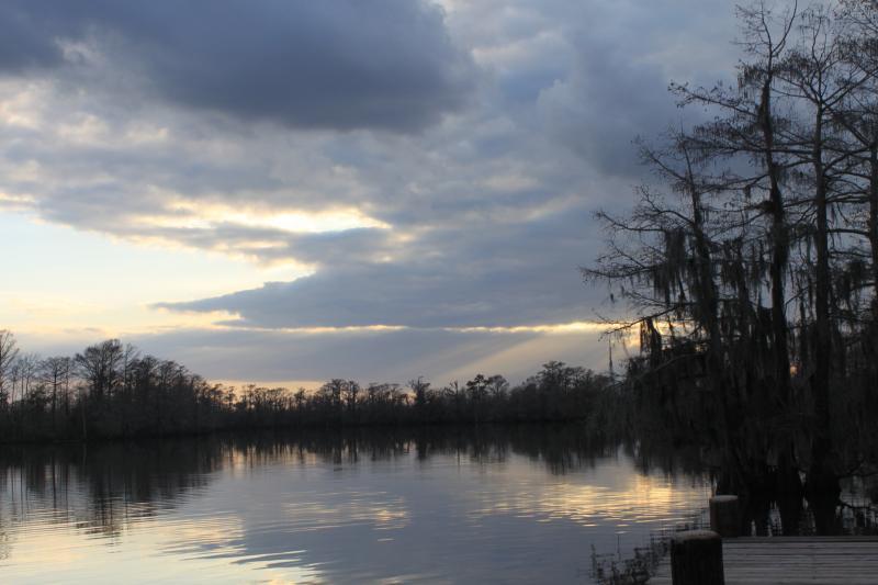 """Sunset on Calcasieu River"" by Kaitlin Miller, 7, of Ragley, grade 2, Bishop Noland Episcopal Day School"