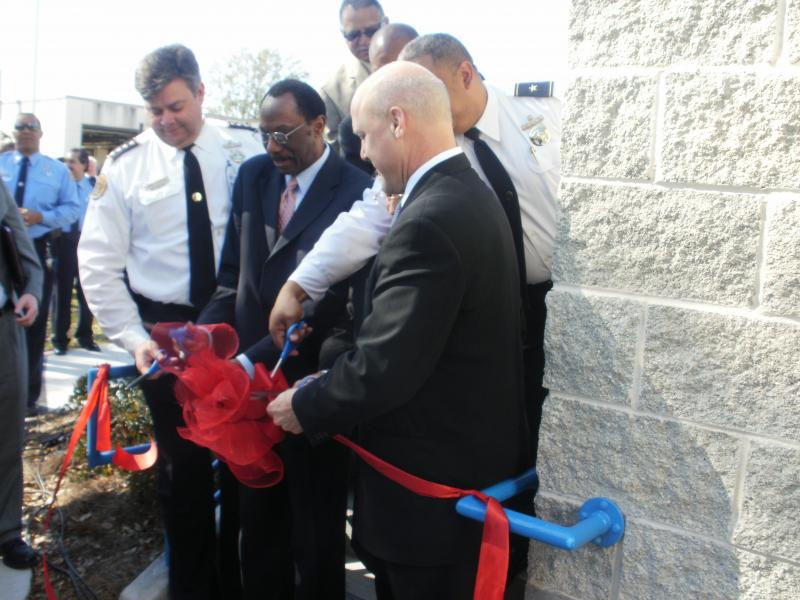 New Orleans Mayor Mitch Landrieu, right, joins Police Superintendent Ronal Serpas, left, and City Council member Jon Johnson, at opening of new 7th District police station in New Orleans East. Landrieu announced the start of citizen advisory boards.
