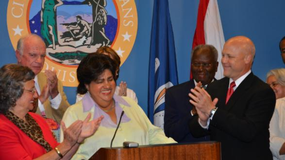 City Council President Jackie Clarkson, left, joins Mayor Mitch Landrieu, right, in welcoming former State Senator Diana Bajoie as an interim member of the New Orleans City Council.