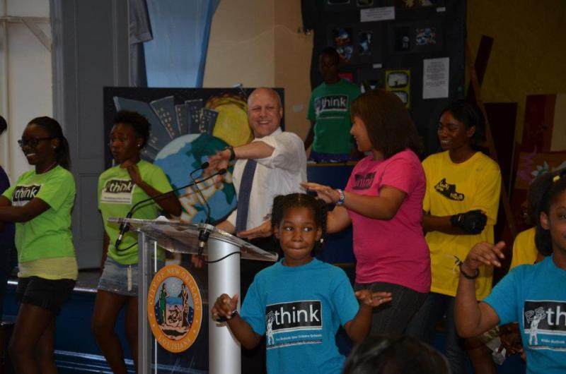 Mayor Mitch Landrieu joins youngsters in Re-Think program at New Orleans Charter Math and Science High School demonstate fun fitness options.