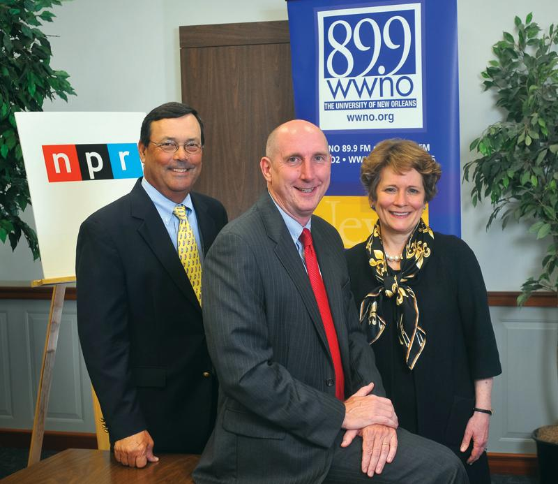 2011 Community Advisory Board Chair Tom Long; WWNO General Manager Paul Maassen; 2012 Advisory Board Chair Susan Talley.