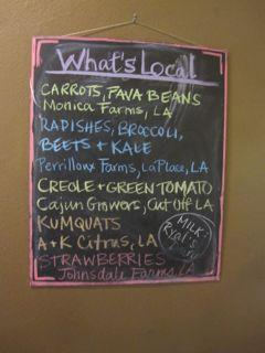 A listing of local vendors and farmers at La Divina Gelateria.