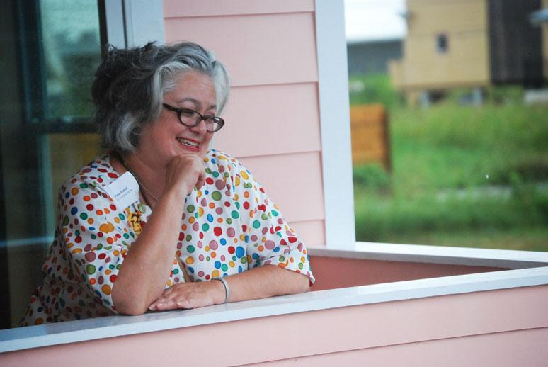 Linda Santi plans to move into her new duplex in about a month, in time to enjoy her expansive outdoor patio space.
