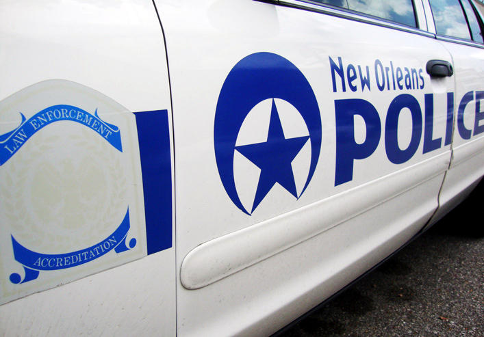 A New Orleans Police Department car. The city's police department has been placed under a federal consent decree.