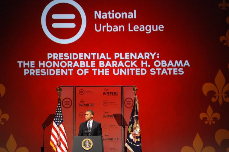 President Obama Speaks to the National Urban League convention meeting in New Orleans.