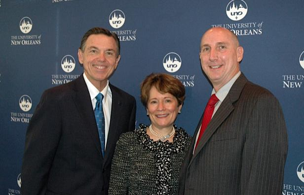 Peter Fos, UNO President; Susan Talley, WWNO Board Chairman; and Paul Maassen, General Manager of WWNO.
