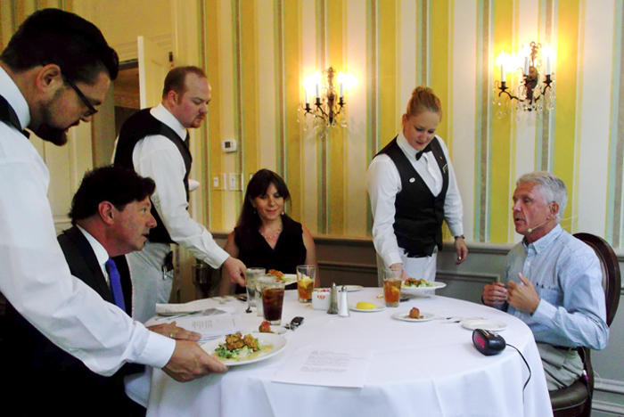Time for lunch! From left to right: Peter Ricchiuti, Jessica Blanchard, Mackie Shilstone, and the staff of Commander's Palace.