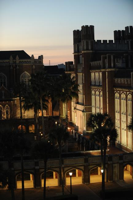 Loyola University's main campus at dusk.