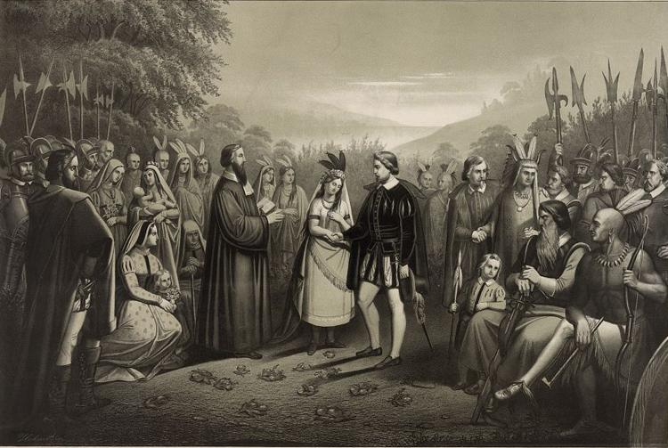 Marriage of John Rolfe and Pocahontas on April 5, 1614, the First Interracial Church Marriage in America