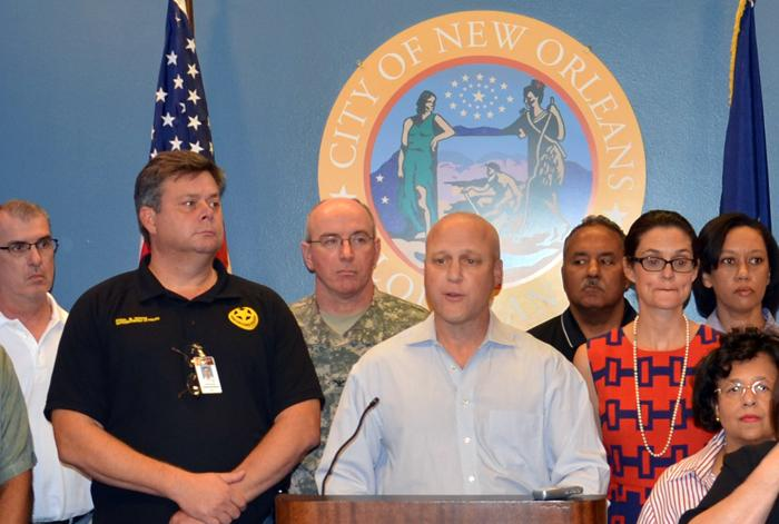 New Orleans Mayor Mitch Landrieu describes the state of the city's preparation at a City Hall news conference Sunday afternoon.
