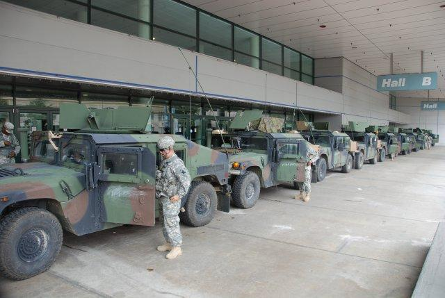 Louisiana National Guardsmen across the New Orleans metropolitan area take precautionary measures to protect the community and its citizens before Hurricane Isaac's landfall, Aug. 28, 2012.