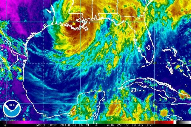 "Satellite infrared ""rainbow view"" of Hurricane Isaac, over the Gulf of Mexico."