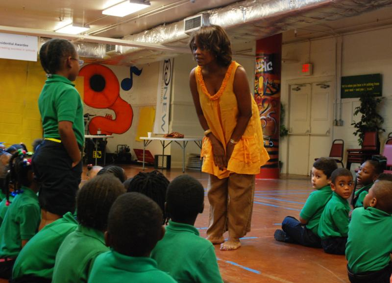 "Actress Alfre Woodard meets with students at the Batiste Cultural Arts Academy in New Orleans. Woodard has ""adopted"" the school as part of the Turnaround Arts program."
