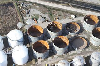 Storm-damaged storage tanks at the Stolthaven chemical plant.