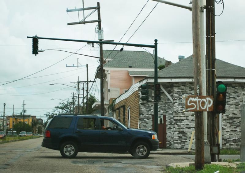 Motorists in New Orleans were faced with myriad broken traffic lights after Hurricane Isaac came though the city. On Martin Luther King, Jr. Blvd, a sign was placed reminding drivers to stop.