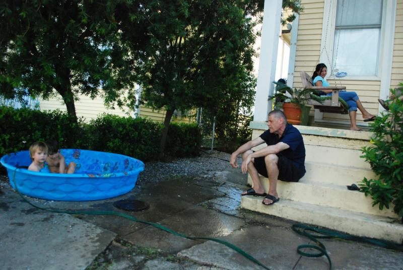 A Mid-City family keeps cool in the wake of Hurricane Isaac, which left much of the region without power.