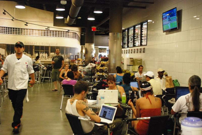 Rouses Supermarket became a hub for New Orleanians lacking Internet access and air-conditioning in the wake of Hurricane Isaac.