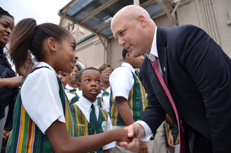 Mayor Landrieu meets with children at a Tremé anti-crime rally.
