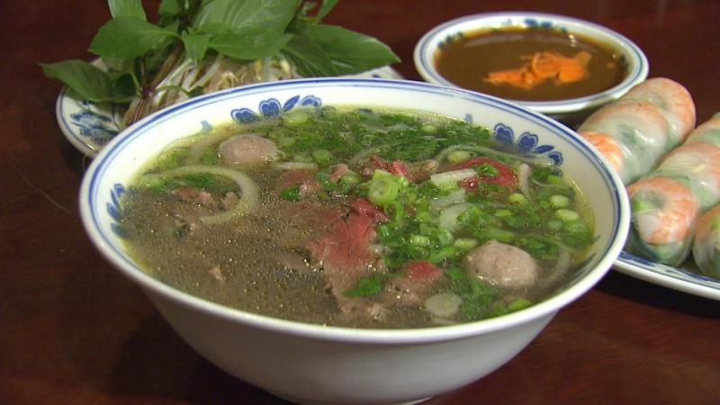 Pho, a popular Vietnamese noodle soup, is usually served with beef or chicken.