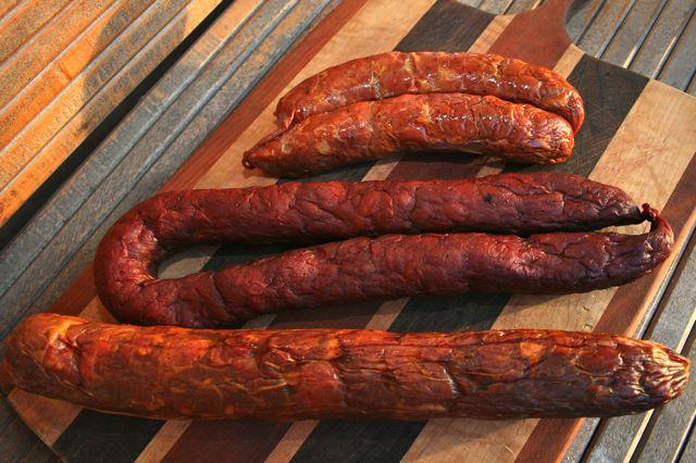 Three different iterations of andouille in the River Parishes.